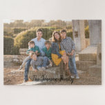 "Beautiful Family Photo Personalize Jigsaw Puzzle<br><div class=""desc"">Personalize this beautiful family photo puzzle today.  This puzzle features a lovely family photo template with your family&#39;s name written at the bottom in fun text.  Replace the stock photography with your personal photo.  Purchase yours today!  Photography &#169; Storytree Studios,  Stanford,  CA</div>"