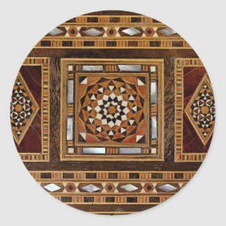 Beautiful Famous mother-of-pearl inlay work, Damas Classic Round Sticker