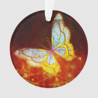 Beautiful Fantasy Butterfly Fireworks Collage Ornament