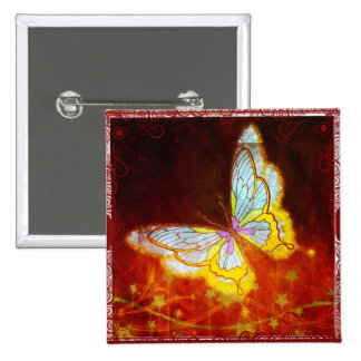 Beautiful Fantasy Butterfly Fireworks Collage Pinback Button