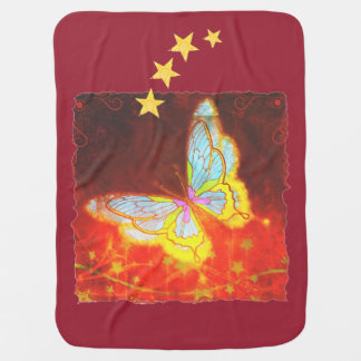 Beautiful Fantasy Butterfly Fireworks Collage Swaddle Blanket