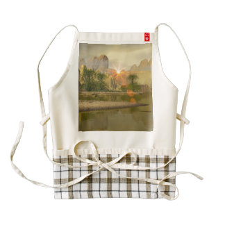 Beautiful fantasy landscape zazzle HEART apron