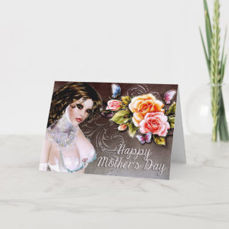 Beautiful Fantasy Woman & Roses Mother's Day Card
