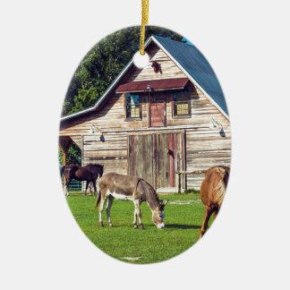 Beautiful Farm Scene with Horses and Barn Ceramic Ornament
