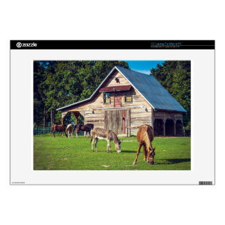 Beautiful Farm Scene with Horses and Barn Decals For Laptops