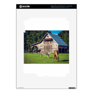Beautiful Farm Scene with Horses and Barn iPad 3 Decals