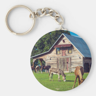 Beautiful Farm Scene with Horses and Barn Keychain