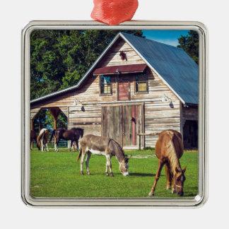 Beautiful Farm Scene with Horses and Barn Metal Ornament