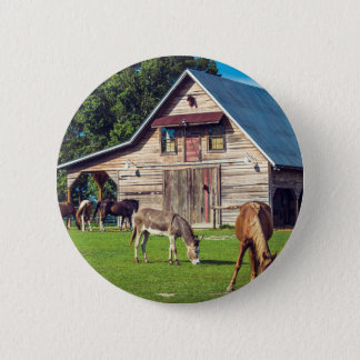Beautiful Farm Scene with Horses and Barn Pinback Button