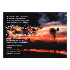 Beautiful Farm Windmill Sunset Wedding Invitations