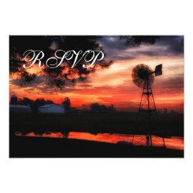 Beautiful Farm Windmill Sunset Wedding RSVP Cards