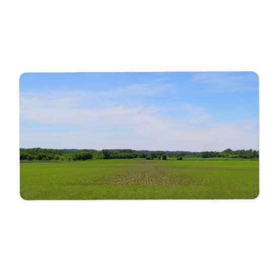 Beautiful farmland blue skies crops in field photo label