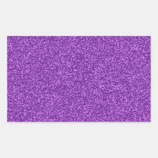 Beautiful fashionable girly purple glitter effect rectangular sticker
