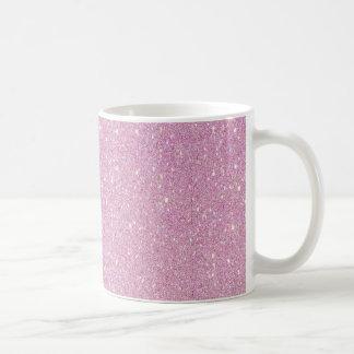 Beautiful fashionable soft purple glitter shinning classic white coffee mug