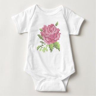 Beautiful Faux Cross Stitched Rose Baby Bodysuit
