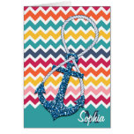 Beautiful faux glitter nautical anchor infinity greeting card