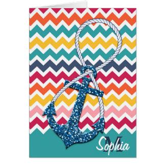 Beautiful faux glitter nautical anchor infinity greeting card