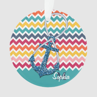 Beautiful faux glitter nautical anchor infinity ornament