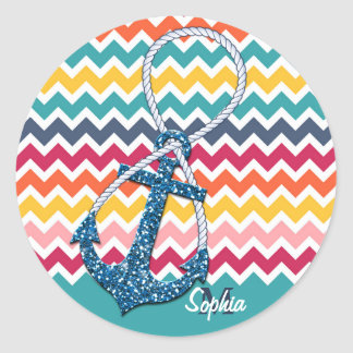 Beautiful faux glitter nautical anchor infinity stickers