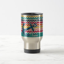 Beautiful faux glitter nautical anchor infinity travel mug