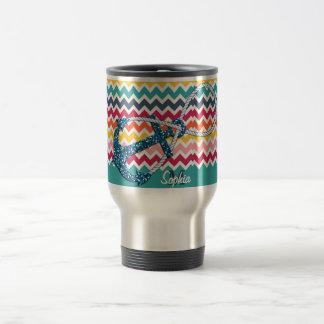 Beautiful faux glitter nautical anchor infinity travel mug
