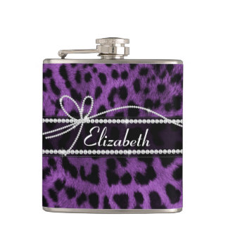 Beautiful faux purple black leopard animal print flask