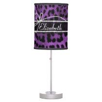 Beautiful faux purple black leopard animal print table lamp