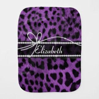 Beautiful faux purple leopard animal fur print burp cloth
