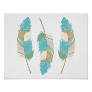 Beautiful Feathers in Teal, Green and Cream Poster