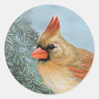 Beautiful Female Cardinal Classic Round Sticker