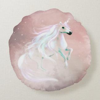 Beautiful feminine unicorn round pillow