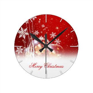 "Beautiful festive ""Merry Christmas"" illustration Round Clock"