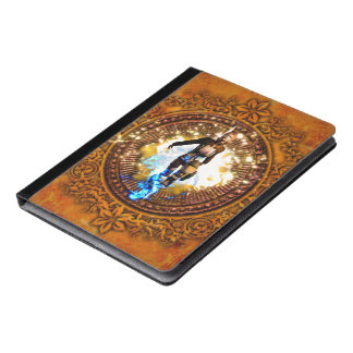 Beautiful fighter in a circle with fire iPad case