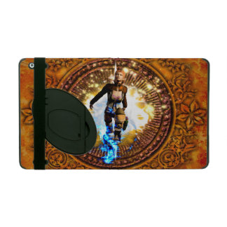 Beautiful fighter in a circle with fire iPad covers