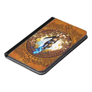 Beautiful fighter in a circle with fire iPad mini case