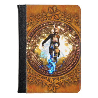 Beautiful fighter in a circle with fire kindle case