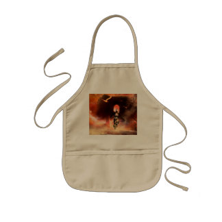 Beautiful fighter in the universe with ruins kids' apron