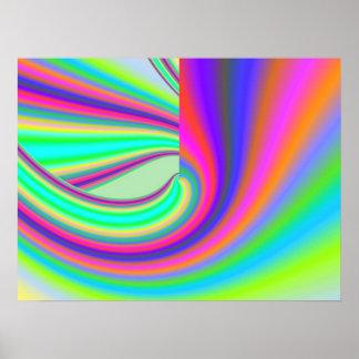Beautiful fine art abstract digital fractal graphi poster