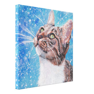 Beautiful Fine Art Tabby Cat in Snow Painting Canvas Print