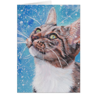 Beautiful Fine Art Tabby Cat in Snow Painting Card