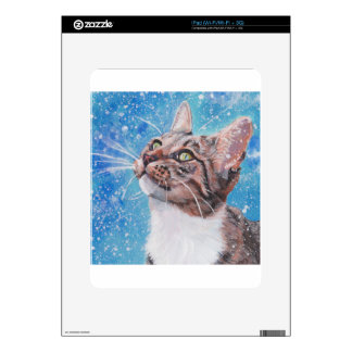 Beautiful Fine Art Tabby Cat in Snow Painting Decals For The iPad