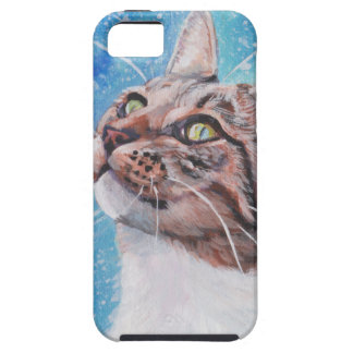 Beautiful Fine Art Tabby Cat in Snow Painting iPhone SE/5/5s Case