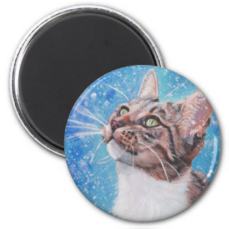 Beautiful Fine Art Tabby Cat in Snow Painting Magnet