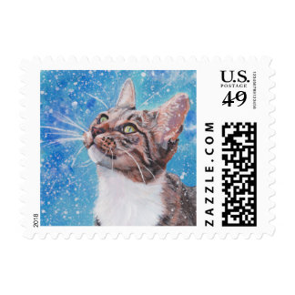 Beautiful Fine Art Tabby Cat in Snow Painting Postage