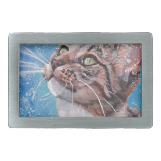 Beautiful Fine Art Tabby Cat in Snow Painting Rectangular Belt Buckle