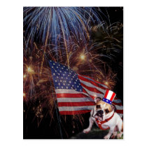 Beautiful Fireworks Celebration Bulldog Design Postcard