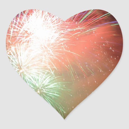 BEAUTIFUL FIREWORKS HEART STICKERS