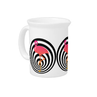 Beautiful flamingo in circles drink pitcher