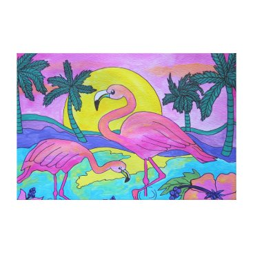 Beach Themed Beautiful Flamingo Wrapped Canvas