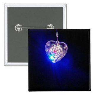 Beautiful flashing heart 2 inch square button